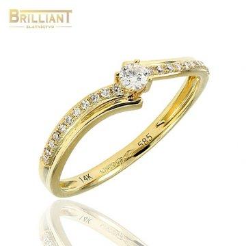 Briliantový Zlatý prsteň Au585/000 s 23ks diamant. 0,16ct.