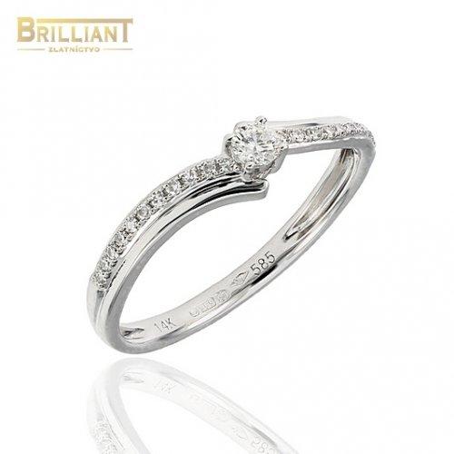 Briliantový Zlatý prsteň Au585/000 s 23ks diamantov 0,16ct