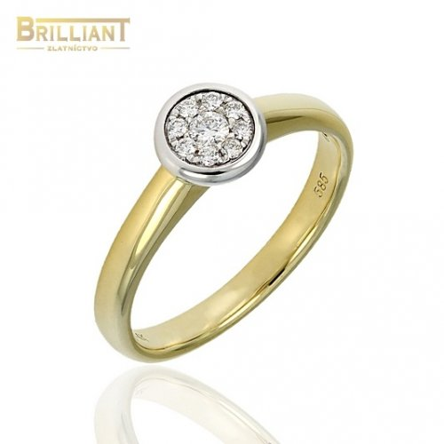 Briliantový Zlatý prsteň Au585/000 s 9ks diamant. 0,11ct.