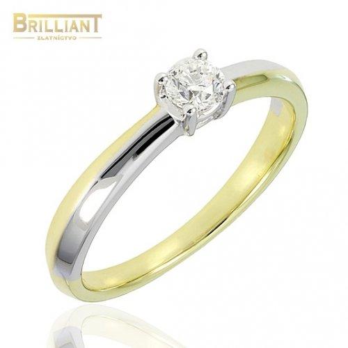 Briliantový zlatý Prsteň Au585/000 s diamantom 0,20ct.