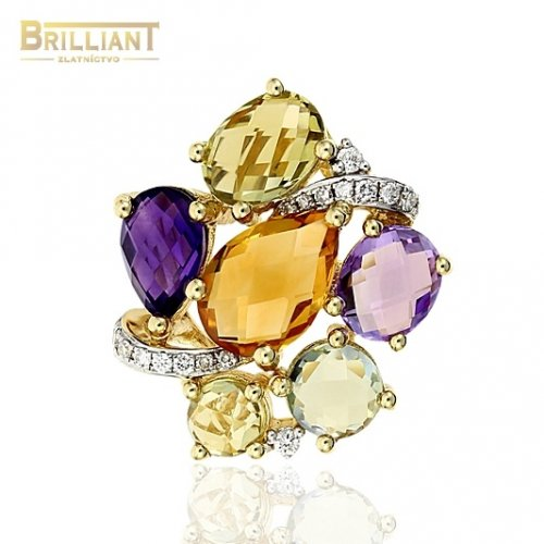 Diamant. Zlatý prívesok Au585/000 14k Diamanty 18 ks 0,11ct.