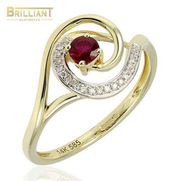 Diamant. Zlatý Prsteň Au585/000 s Diam. 0,05ct. Rubín