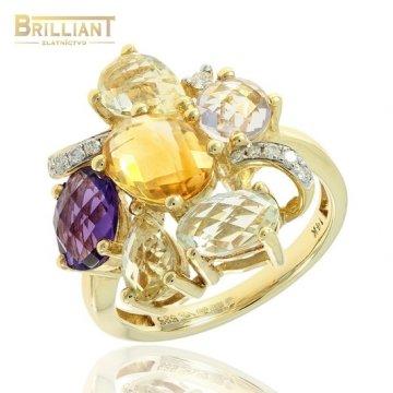Diamant. Zlatý Prsteň Au585/000 s diam. 0,09c ,prír.k.4,02ct