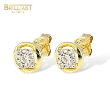 Diamantové Zlaté náušnice Au585/000 14k 22ks diam. 0,09ct.