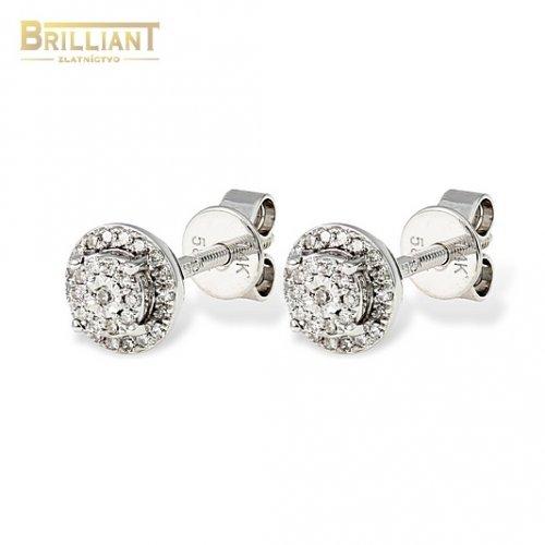 Diamantové Zlaté náušnice Au585/000 14k šrubovacie 0,13ct