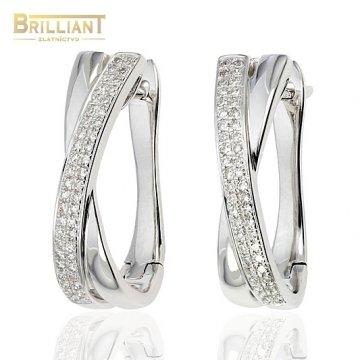 Diamantové Zlaté náušnice Au585/000 s 92ks diamantmi 0,22ct.