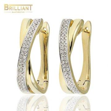 Diamantové Zlaté náušnice Au585/000 s 92ks diamantmi 0,22ct