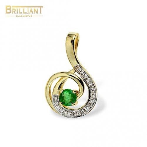 Diamantový Zlatý prívesok Au585/000 14k so smaragdom