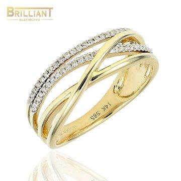 Diamantový Zlatý prsteň Au585/000 14k Diamantov 55ks 0,17ct
