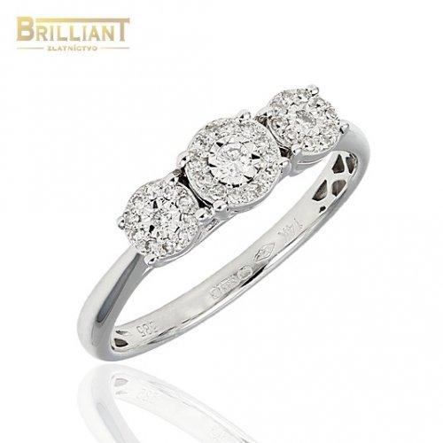 Diamantový Zlatý prsteň Au585/000 14k Diamanty 35ks 0,17ct.