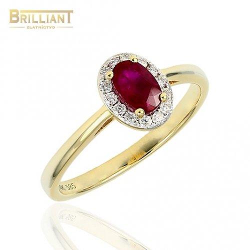 Diamantový Zlatý prsteň Au585/000 14k Rubín 0,6ct. dia.0,14c