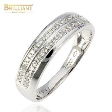 Diamantový Zlatý prsteň Au585/000 14k s diamantmi 0,14ct.