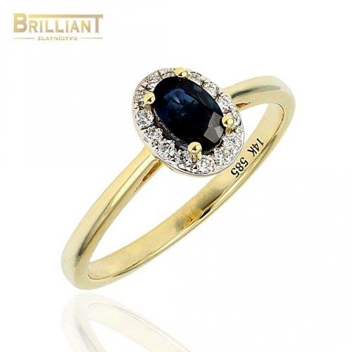 Diamantový Zlatý prsteň Au585/000 14k Zafír 0,62ct dia. 0,14