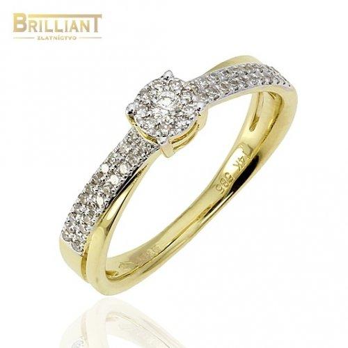 Diamantový Zlatý Prsteň Au585/000 s 54 diamantmi 0,18ct.