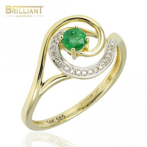 Diamantový Zlatý prsteň Au585/000 s dia. 0,05ct a smaragdom