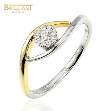 Diamantový zlatý Prsteň Au585/000 s diamantmi 0,10ct.