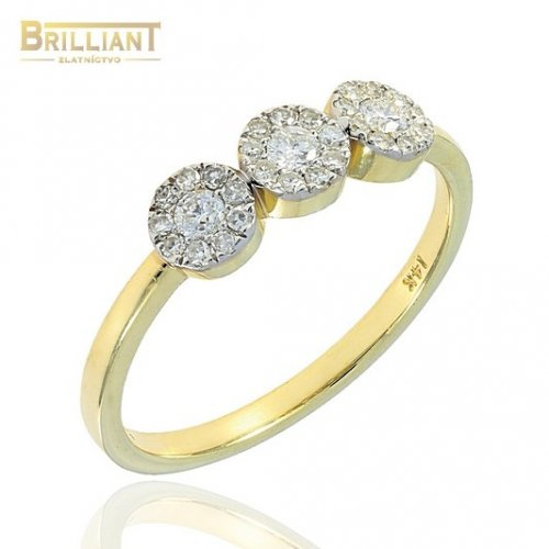 Diamantový zlatý Prsteň Au585/000 s diamantmi 0,31ct.
