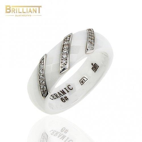 Keramický prsteň s Ag925 a zirkónmi