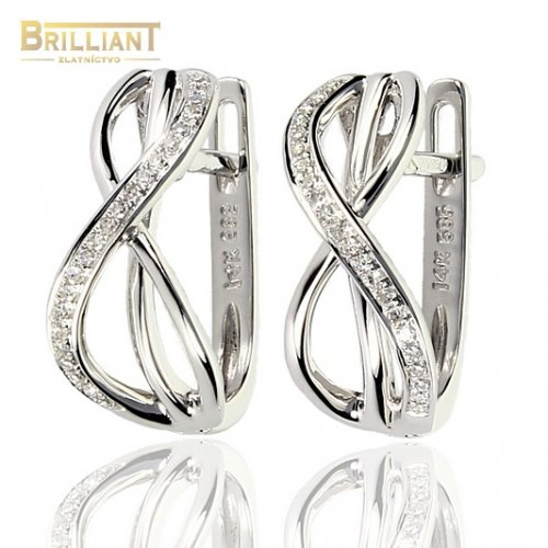 Náušnice Biele Zlato Au585/000 s Diamantmi 0,10ct 44ks