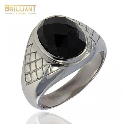 Prsteň CHirurgicka ocel s čiernym kameňom