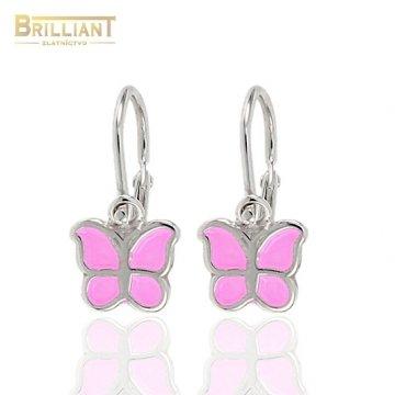 Strieborné Detské náušnice Ag925 motýliky s ružovým emailom