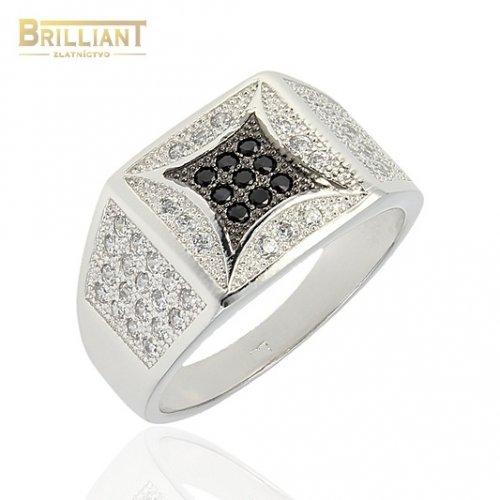 Strieborný prsteň Ag925 Pánsky s čierno bielymi zirkónmi