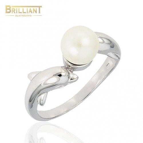 Strieborný prsteň Ag925 perla s delfínmi
