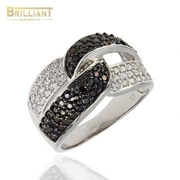 Strieborný prsteň Ag925 s čierno bielymi zirkónmi