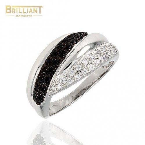 Strieborný prsteň Ag925 s čiernymi a bielymi zirkónmi