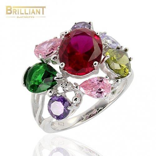 Strieborný prsteň Ag925 s farebnými kameňmi