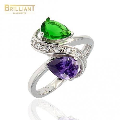 Strieborný prsteň Ag925 s fialovo zelenými kameňmi a zirkónm