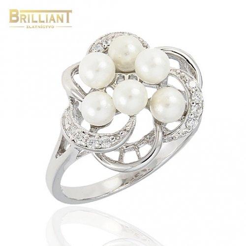 Strieborný prsteň Ag925 s perlami a zirkónmi
