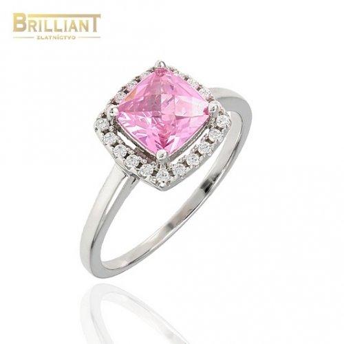 Strieborný prsteň Ag925 s ružovým kam. a zirkónmi