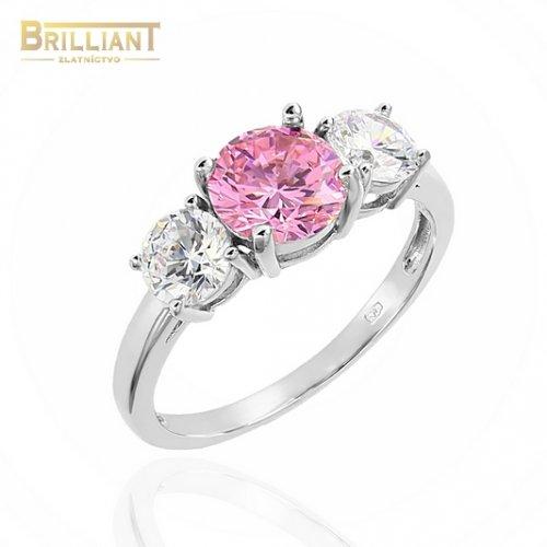 Strieborný prsteň Ag925 s ružovým kameňom a zirkónmi