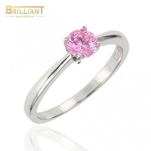 Strieborný prsteň Ag925 s ružovým kamienkom
