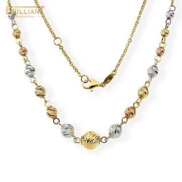 Zlatá retiazka Au585/000 14k s farebnými guličkami