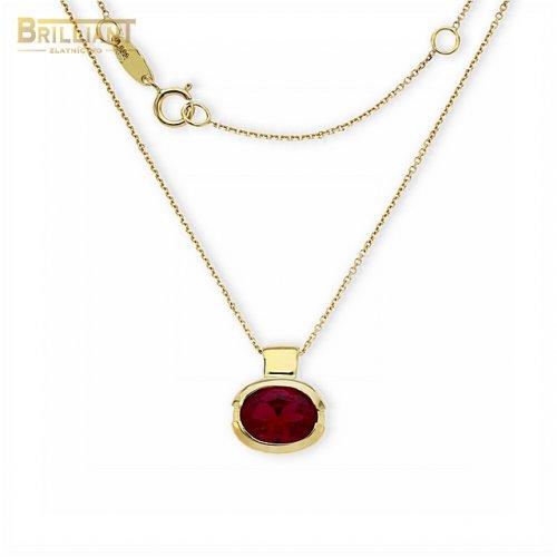 Zlatá retiazka Au585/000 14k s príveskom s červeným kameňom