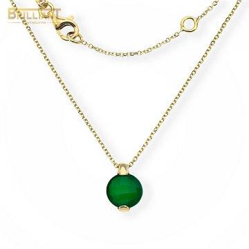 Zlatá retiazka Au585/000 14k s príveskom so zeleným kameňom