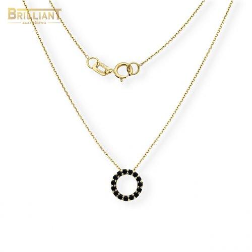 Zlatá retiazka Au585/000 14k s príveskom s čiernymi kamienkami