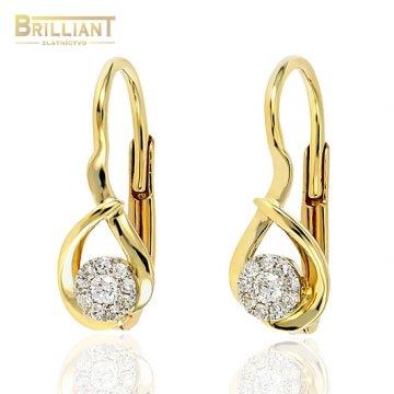 Zlaté Briliantové náušnice Au585/000 14k 20ks diam. 0,09ct