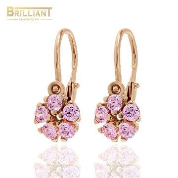 Zlaté Detské náušnice Au585/000 14k ružové zlato s kameňmi