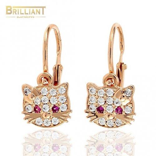 c89ee88c6 Zlaté Detské náušnice Au585/000 14k ružové zlato s kameňmi ...