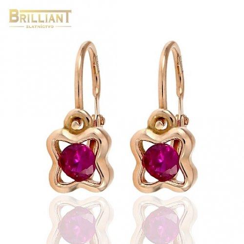 92db8dad8 Zlaté Detské náušnice Au585/000 14k ružové zlato s kamienkom ...