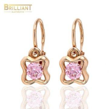 Zlaté Detské náušnice Au585/000 14k ružové zlato s kamienkom