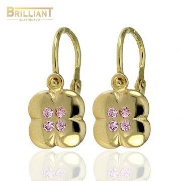 Zlaté detské náušnice Au585/000 14k s ružovými kameňmi