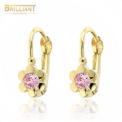 Zlaté náušnice Au585/000 14k dievčenské s ružovým kamienkom