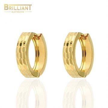 Zlaté náušnice Au585/000 14k gravírované krúžky