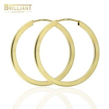 Zlaté náušnice Au585/000 14k kruhy hranaté 2cm