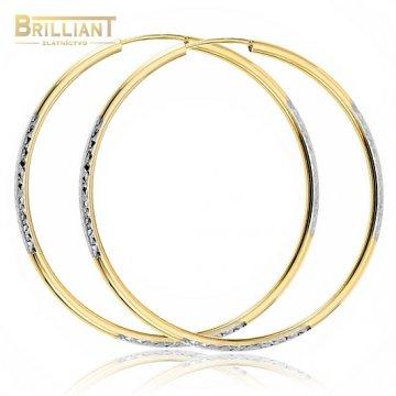 Zlaté náušnice Au585/000 14k kruhy kombinované s gravírom