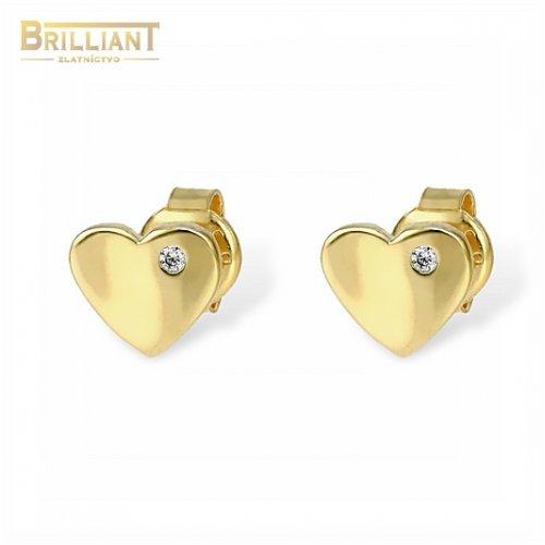 Zlaté náušnice Au585/000 14k napichovacie srdiečka s kameňom